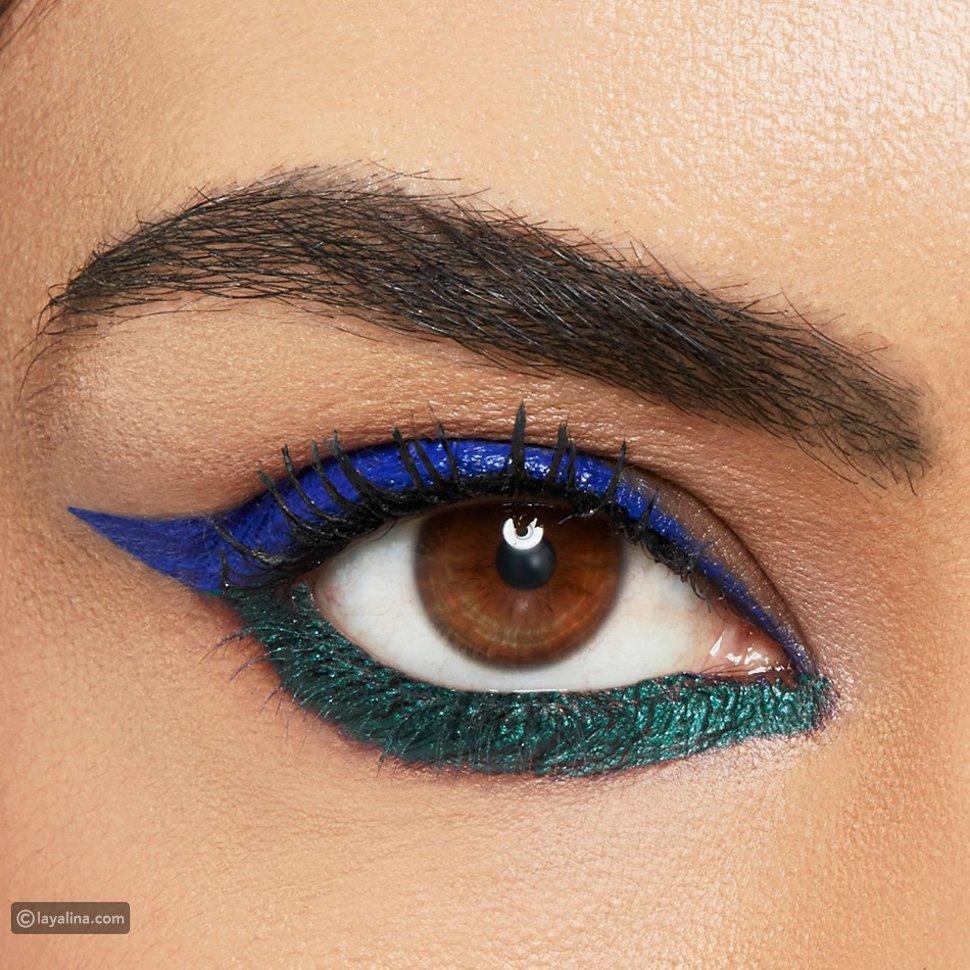 وضع الكحل للعيون الواسعة للمناسبات باللونين الأزرق والأخضر